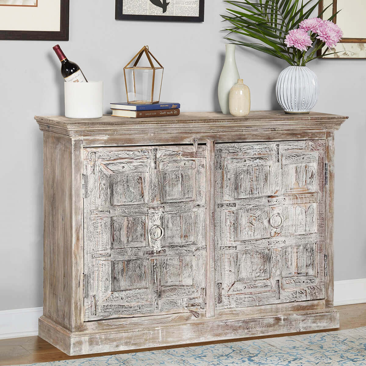 Palazzo Distressed Reclaimed Wood Rustic Dining Buffet Cabinet