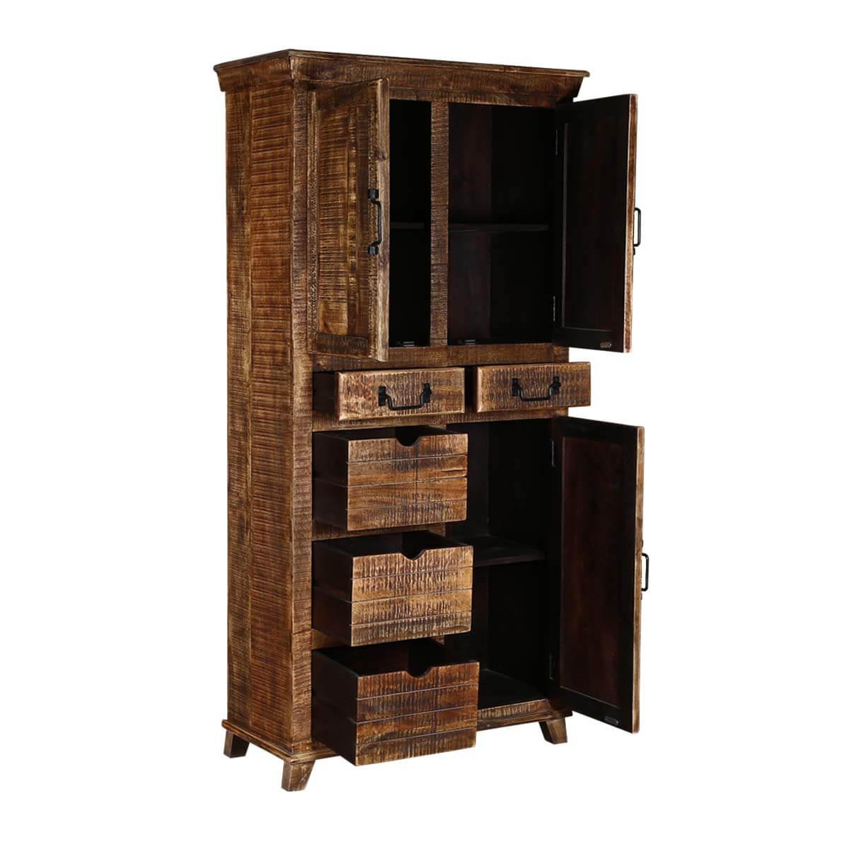 Willamette 3 Door Solid Mango Wood Tall Storage Cabinet ...