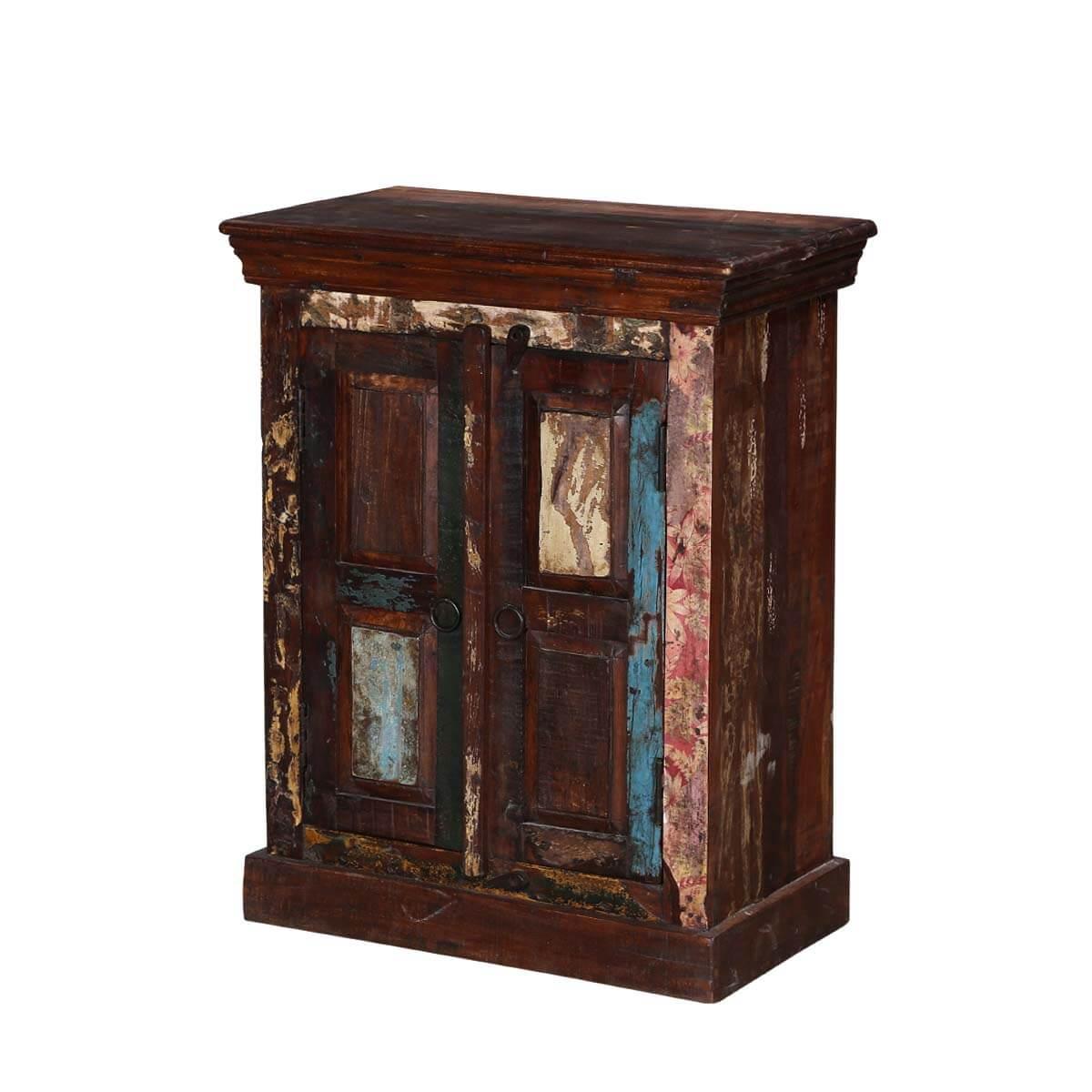 Avoca Rustic Reclaimed Wood Mini Storage Cabinet