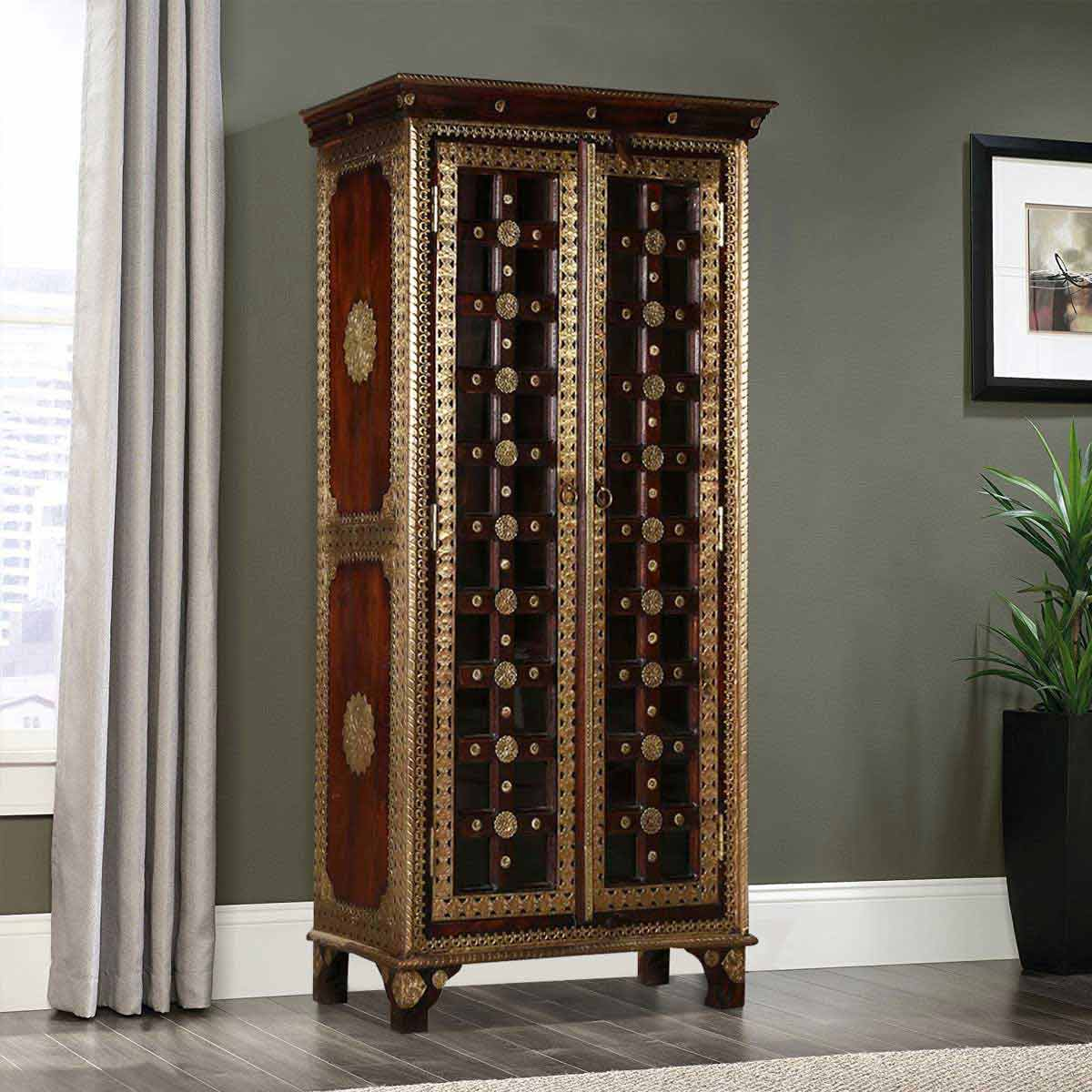 Pawnee Golden Medallions Inlay Glass Door Mango Wood Armoire Cabinet