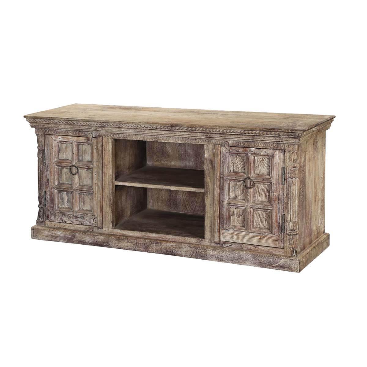 Antique White Tudor Mango & Reclaimed Wood TV Console Cabinet