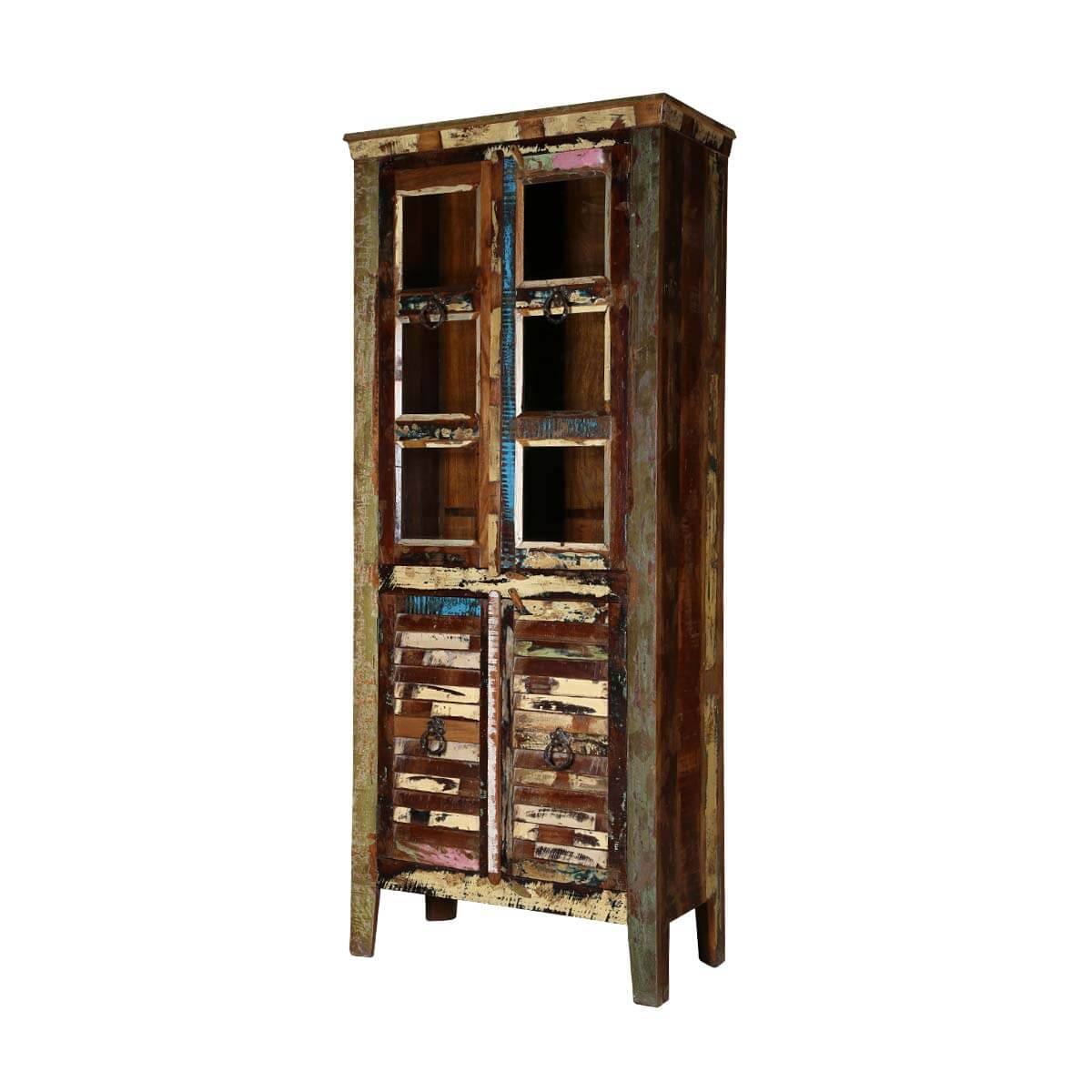 Keyser Rustic Reclaimed Wood Glass Door Display Cabinet
