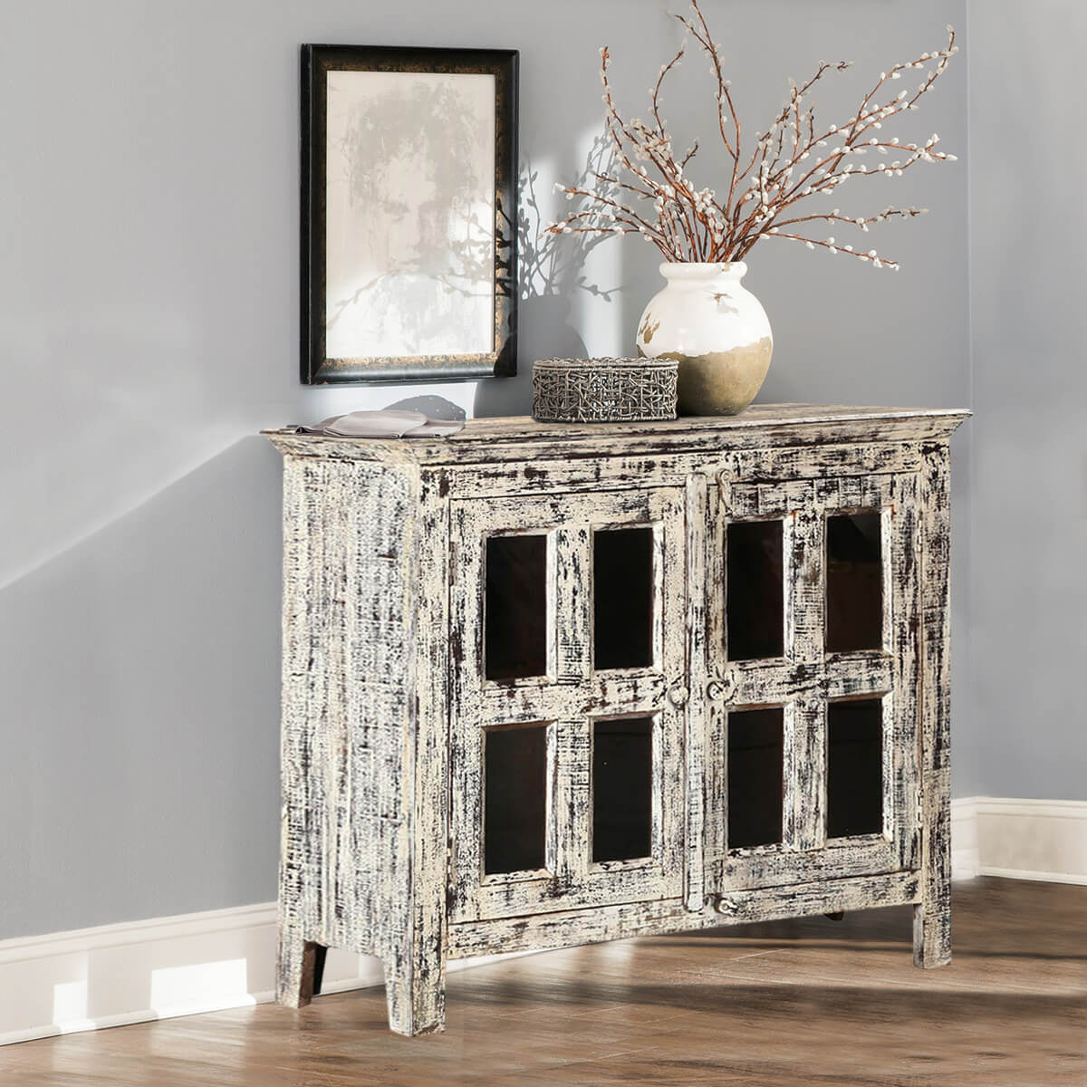Fellsmere Distressed Mango Wood Glass Door Rustic Buffet Cabinet