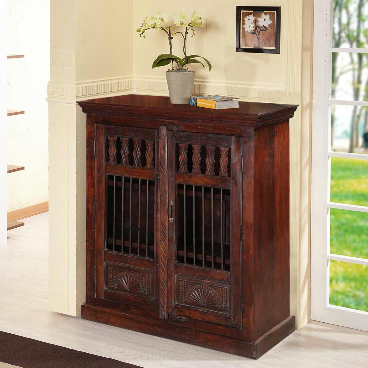 Chartres Solid Wood Open Panel 2 Door Rustic Buffet Cabinet
