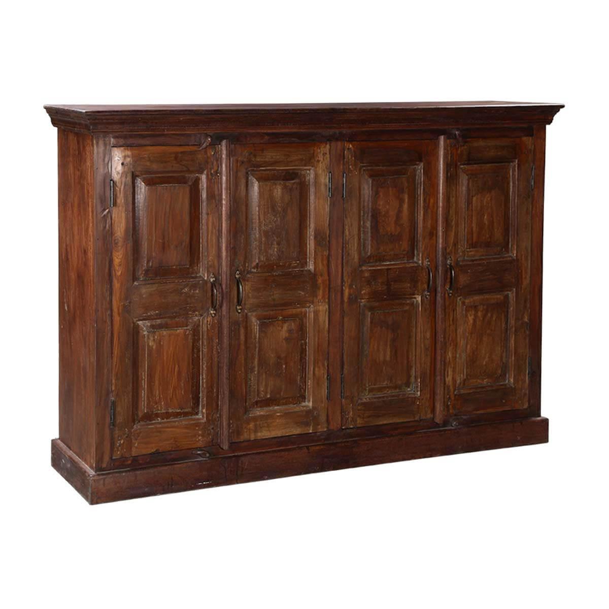 Willamette Traditional Rustic Solid Wood 4 Door Long Buffet Cabinet