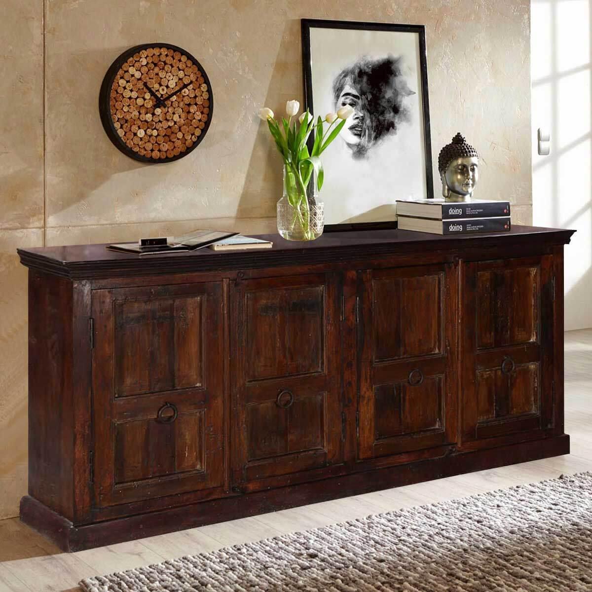 Picture of: Logan Rustic Solid Wood 4 Shelf 4 Door Extra Long Buffet Cabinet