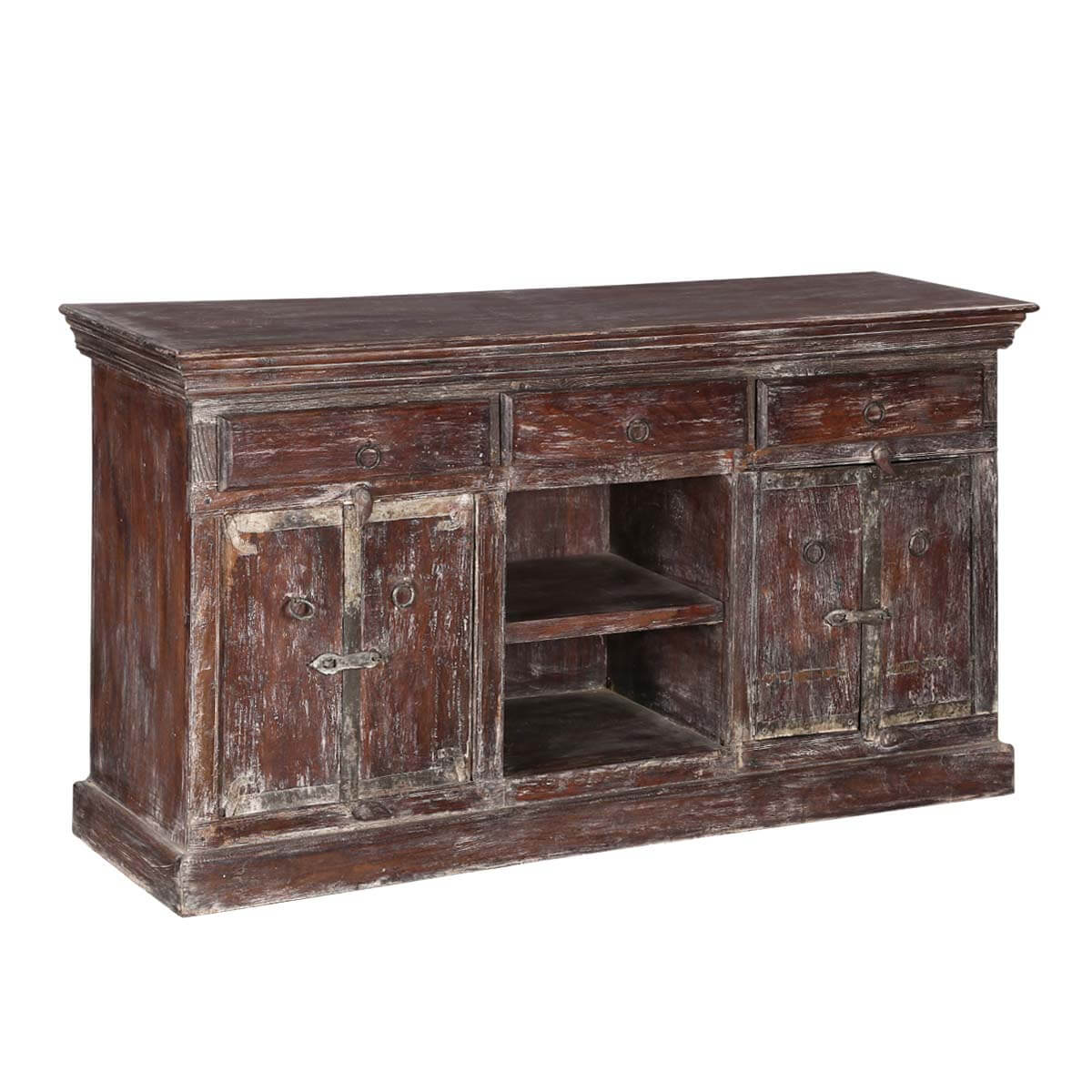Willamette 52 Distressed Finish Rustic 4-Door Media Console Furniture