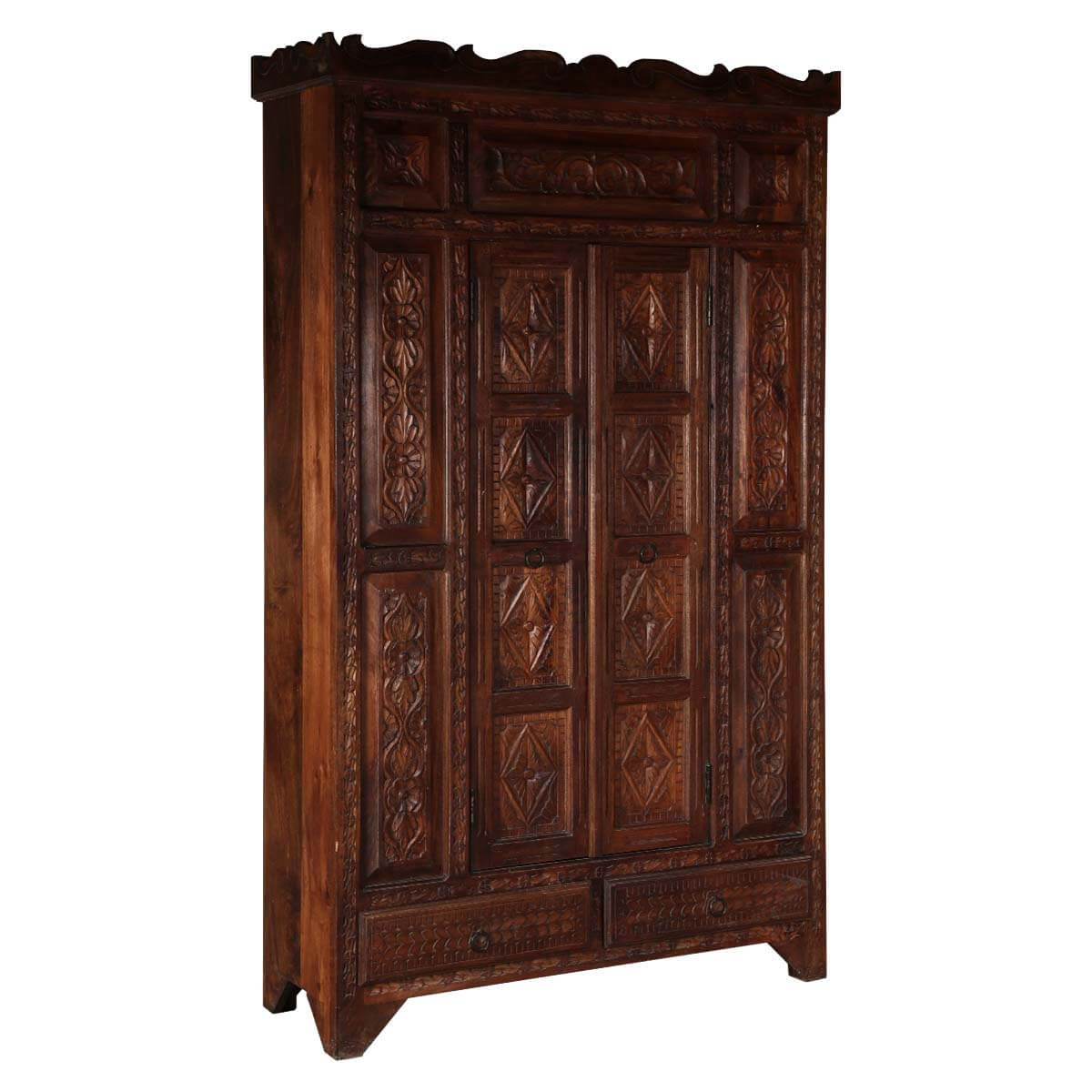 Royal Tudor Carved Wood Large Armoire Cabinet With Shelves & Drawers