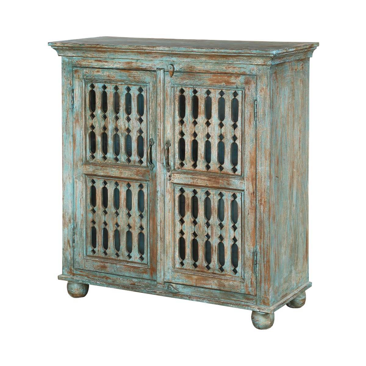 Rustic Spring Distressed Mango Wood Freestanding Storage Cabinet