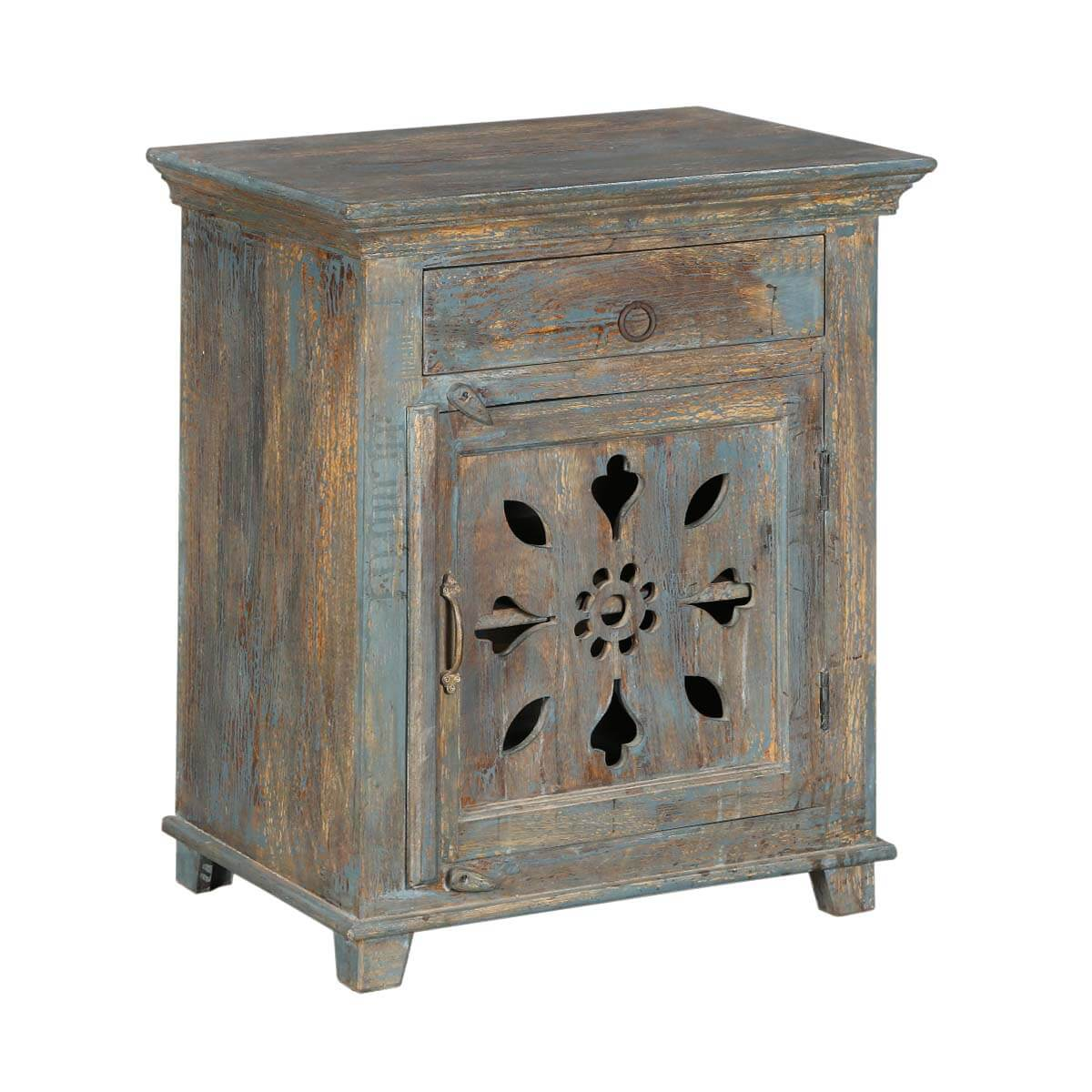 Winter White Snowflake Mango Wood Nightstand End Table Cabinet