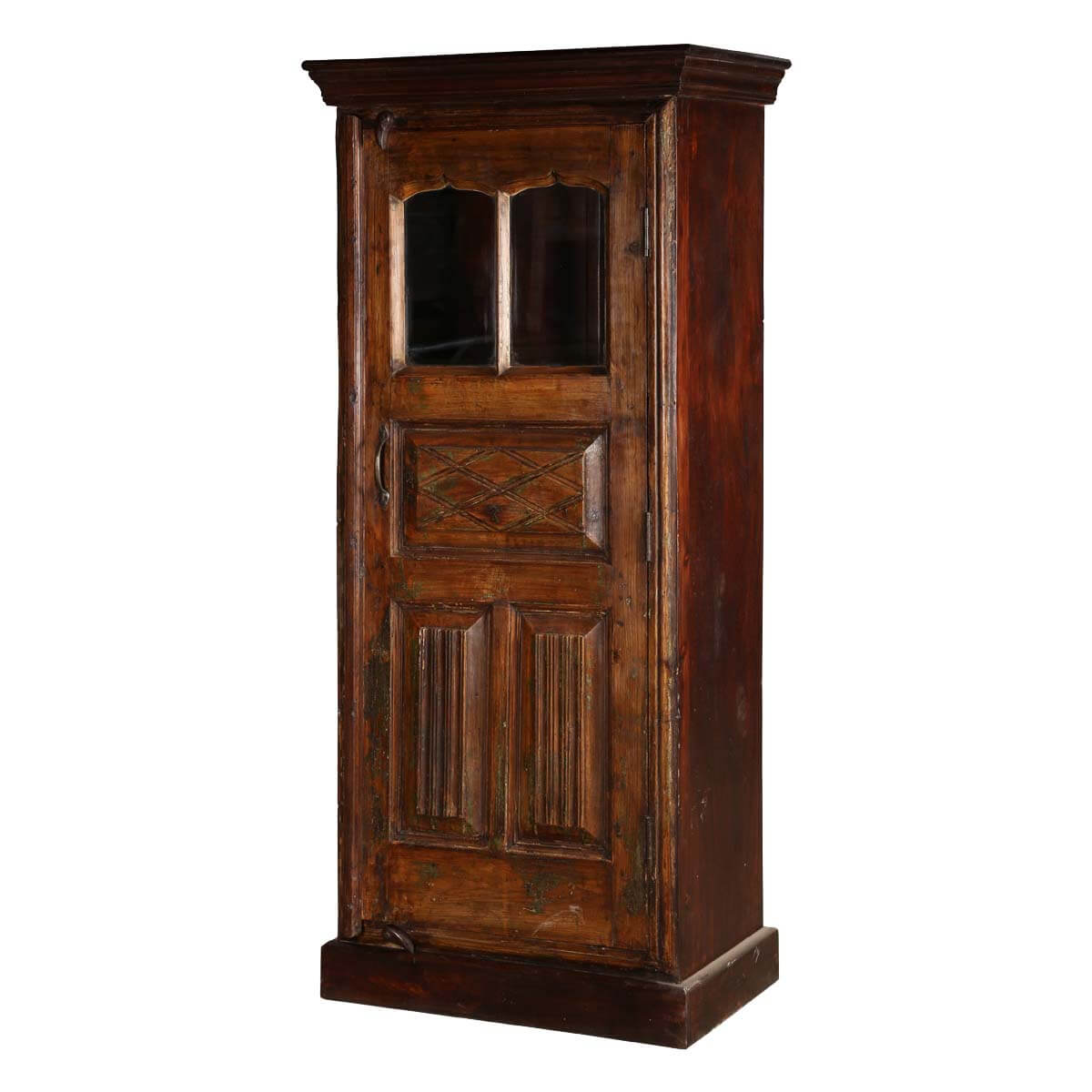 Traditional Freestanding Mango Wood Narrow Armoire With Shelves