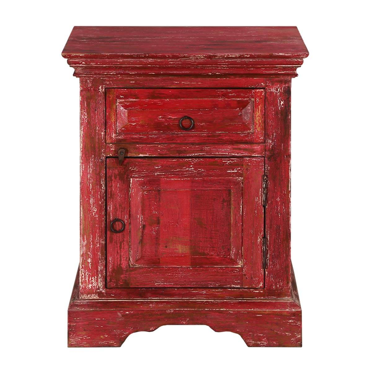 Firehouse Distressed Red Mango Wood 1 Drawer Nightstand Cabinet