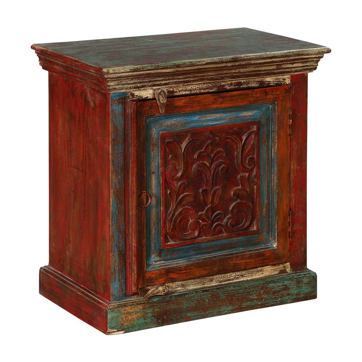 Rustic Fleur-de-lis Mango Wood Nightstand End Table Cabinet