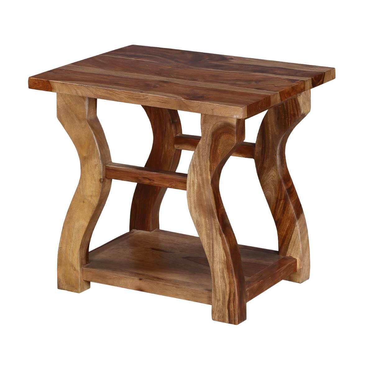 Willamette 19 Rustic Natural Woodgrain Hour Glass Shape End Table