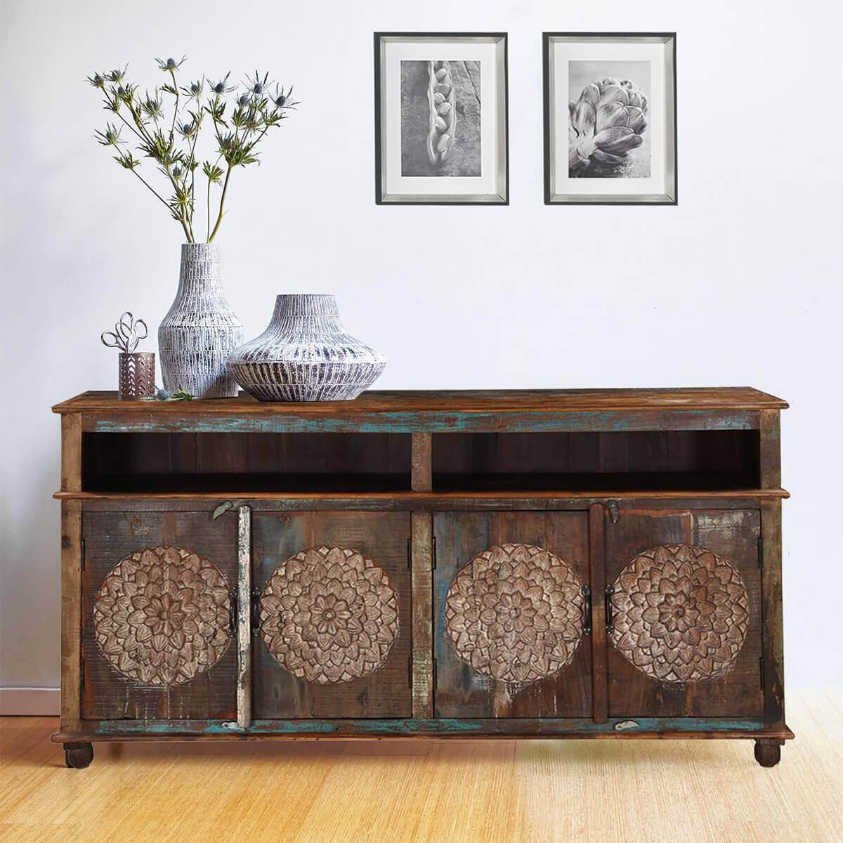 Picture of: Tangier Handcrafted Dahlia Flower Design 4 Door Long Buffet Cabinet