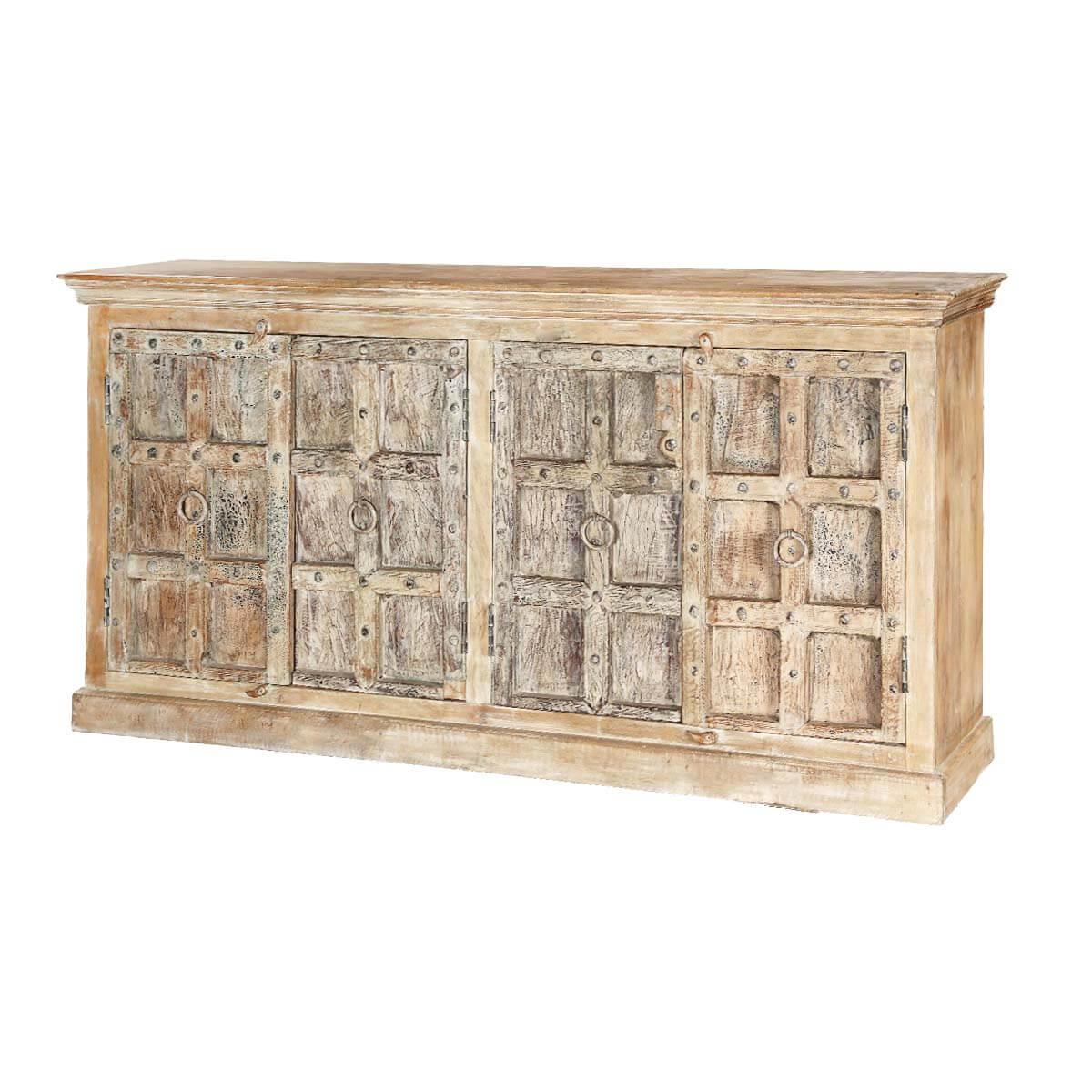Bremen Distressed Rustic Solid Wood 4 Door Large Buffet Cabinet