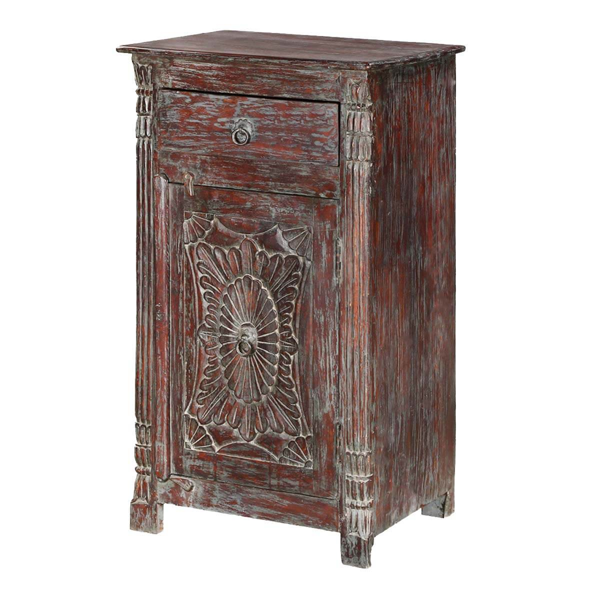 Chartres Rustic Solid Wood Single Door 1 Drawer Accent Nightstand