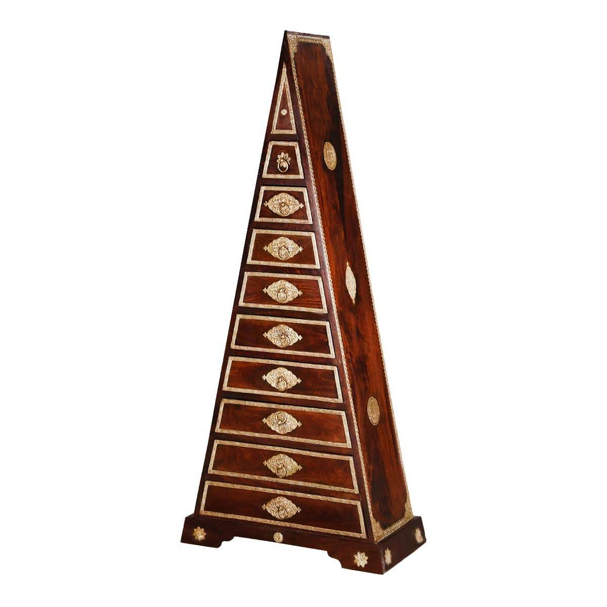 Tangier Brass Inlay Mango Wood Pyramid Tower Dresser With 9 Drawers