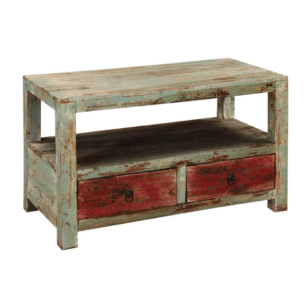 Appalachian Rustic Mango Wood 2-tier Coffee Table w Drawers