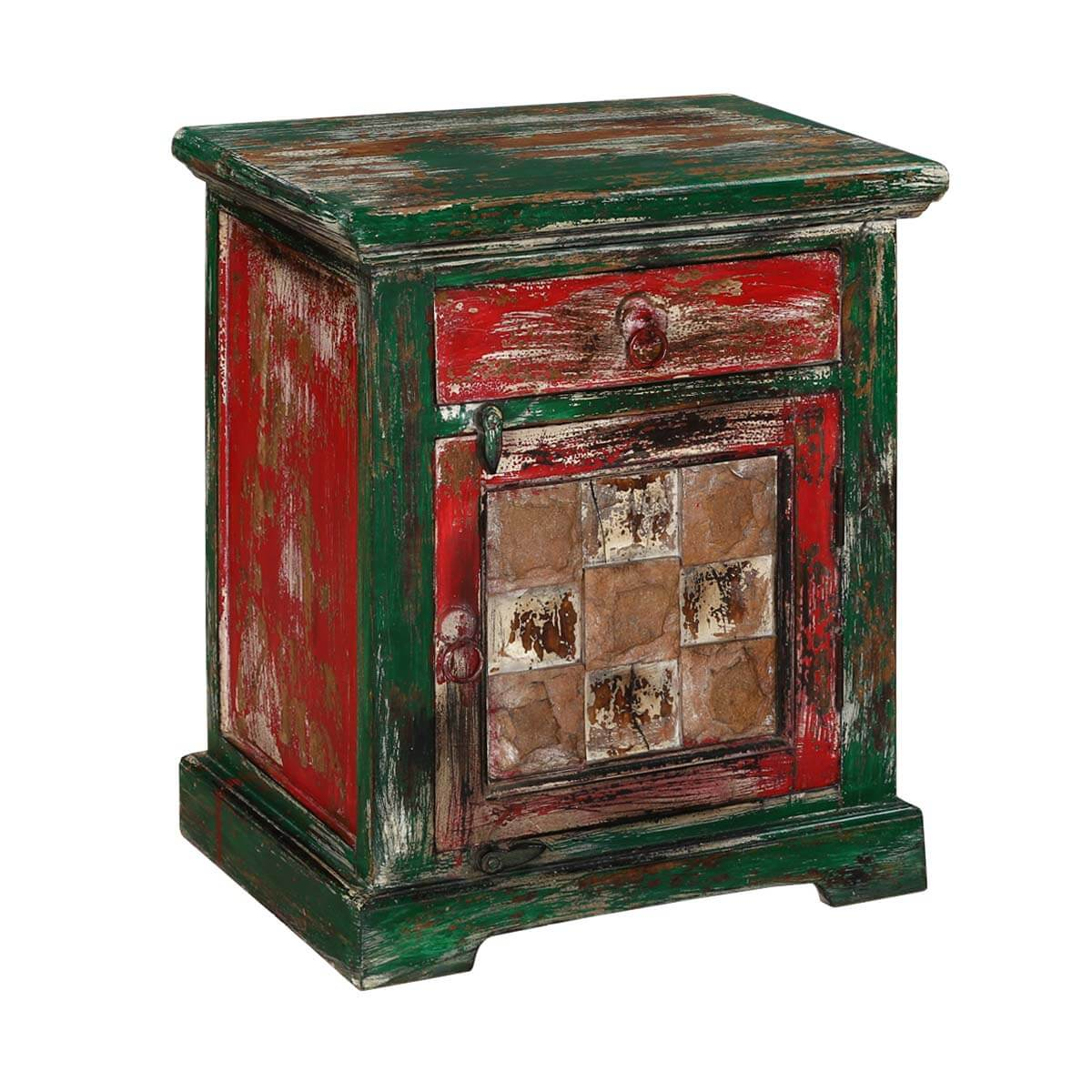 "Rustic Red & Green Mango Wood 23"" Nightstand End Table Cabinet"