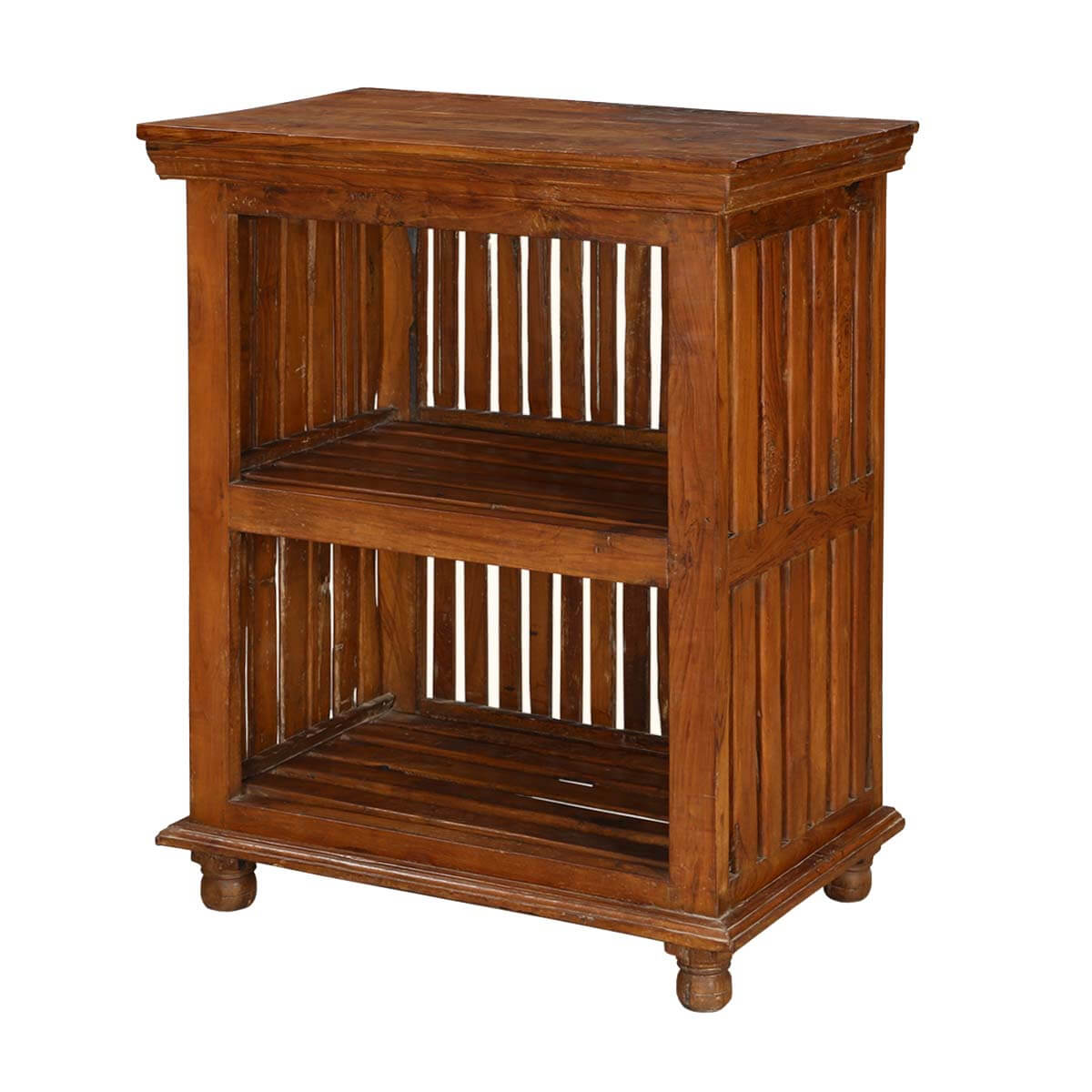 Contemporary Asian Teak Wood Vented Sides Nightstand End Table