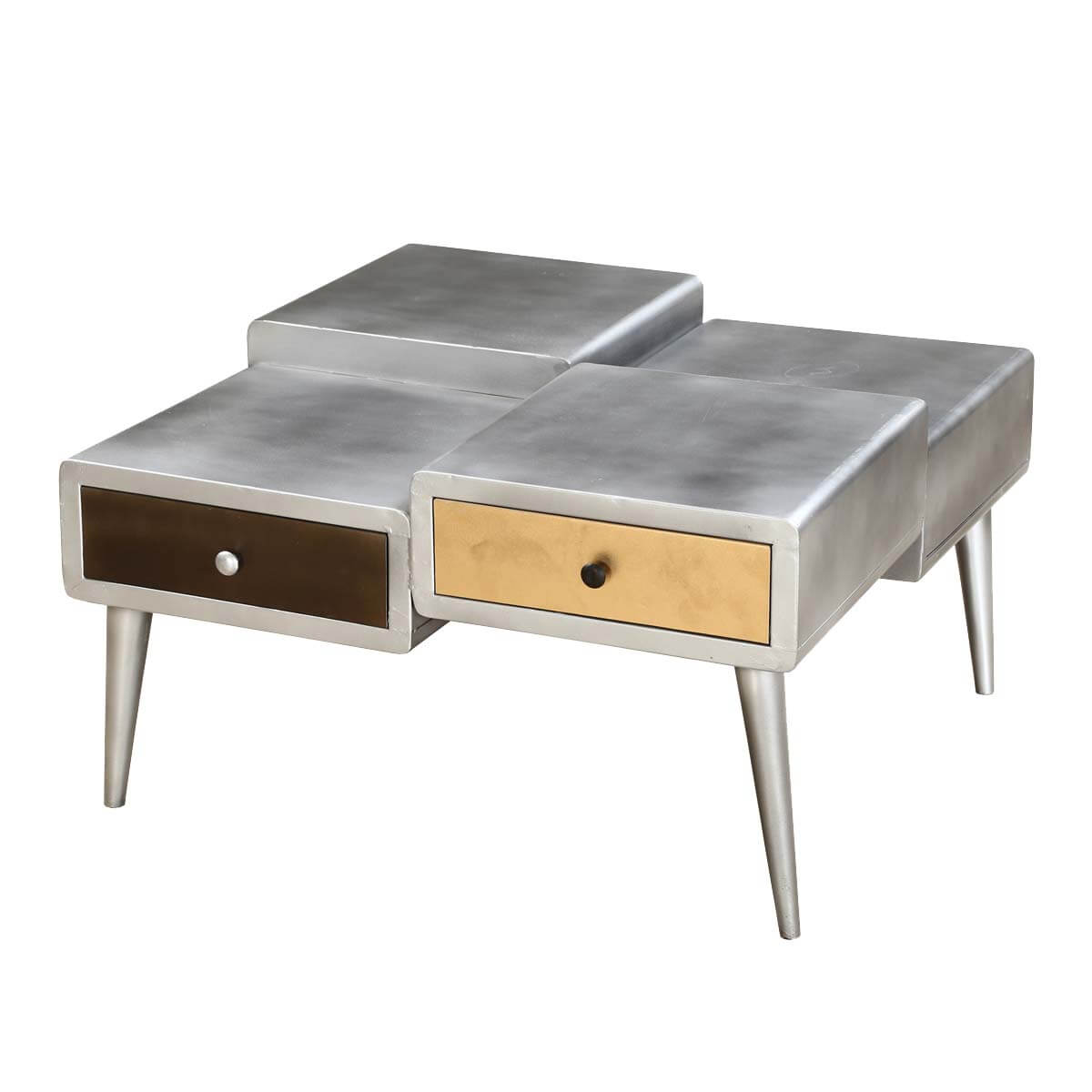 Omega Industrial Accent Coffee Table with Four Drawers