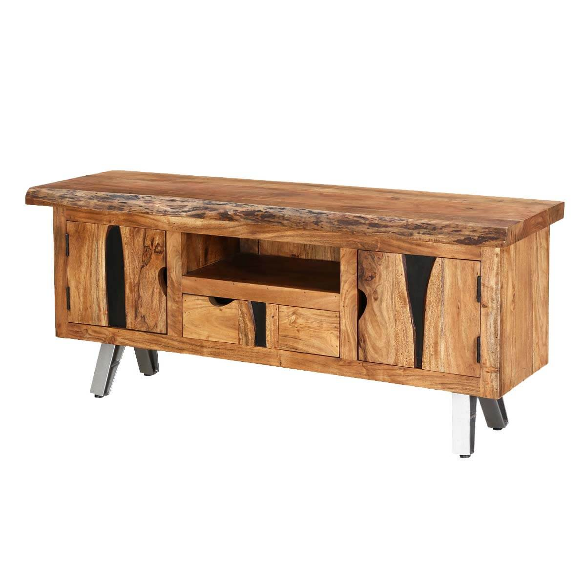 Norma Acacia Wood 1 Drawer Live Edge Media Console Cabinet