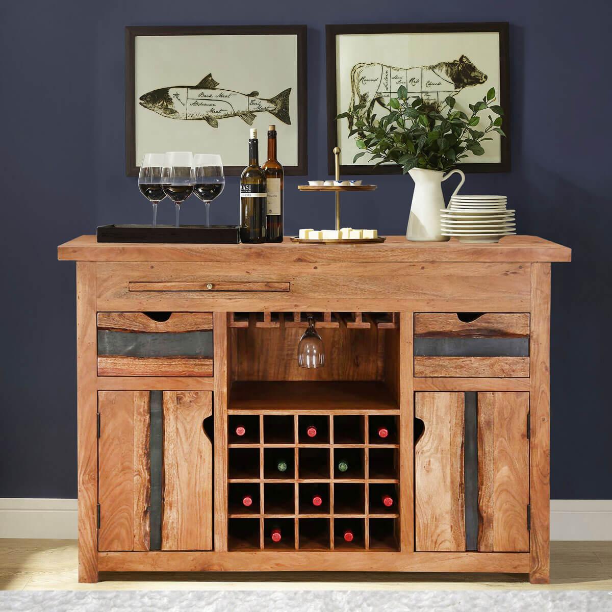 Modern Pioneer Acacia Wood Live Edge Home Bar Buffet Cabinet