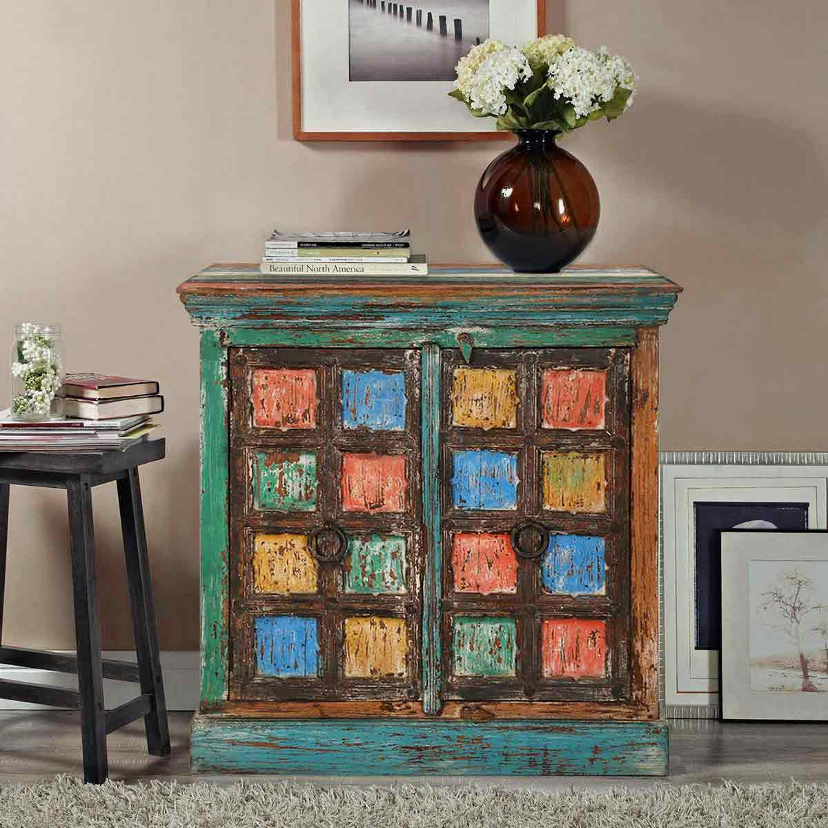 Monty Multicolor Two Door Rustic Reclaimed Wood Accent Storage Cabinet