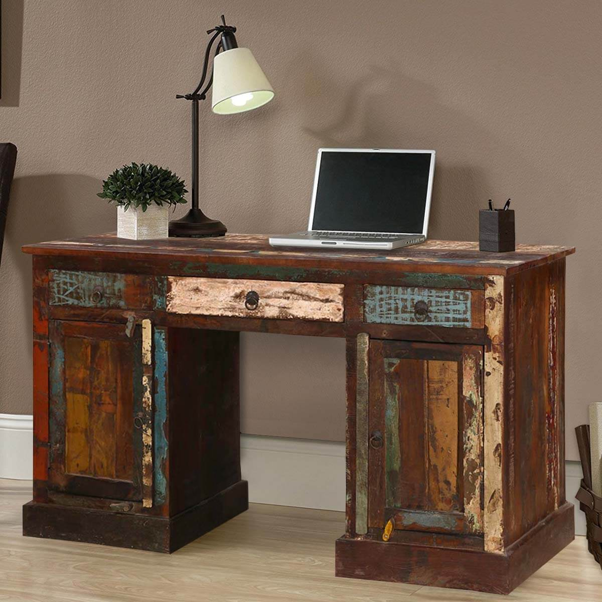 Wooden Cabinets Vintage Office Desk With Drawers