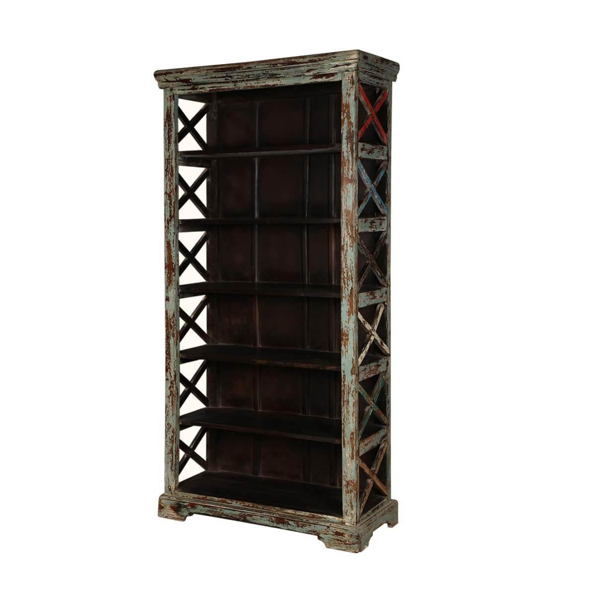 Crisscross 6 Open Shelf Distressed Wood Rustic Bookcase