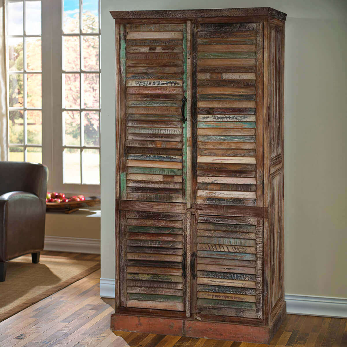 Buckley Solid Reclaimed Wood Large Armoire Cabinet With Shelves