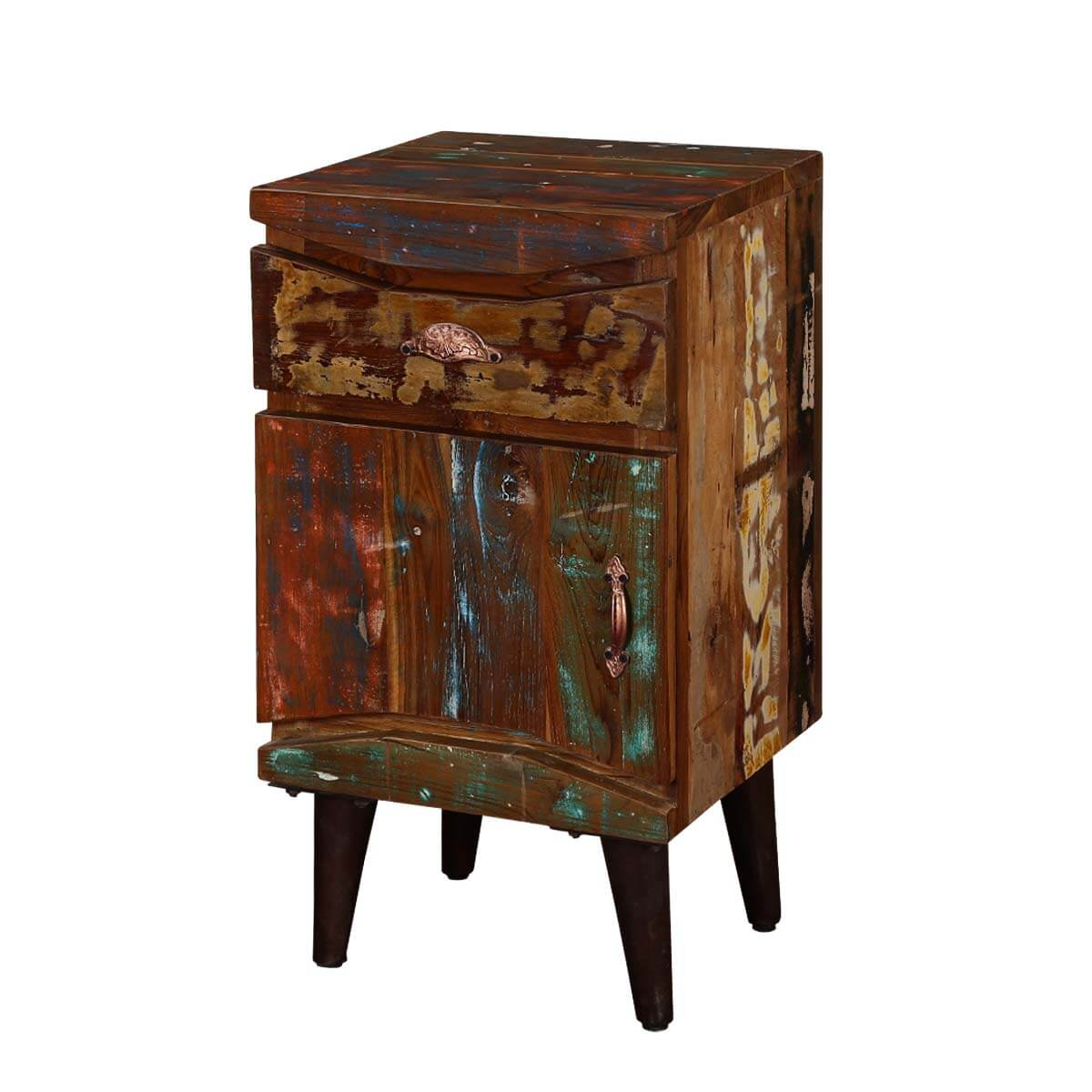 Rustic Colors Reclaimed Wood Standing Nightstand Mini Cabinet