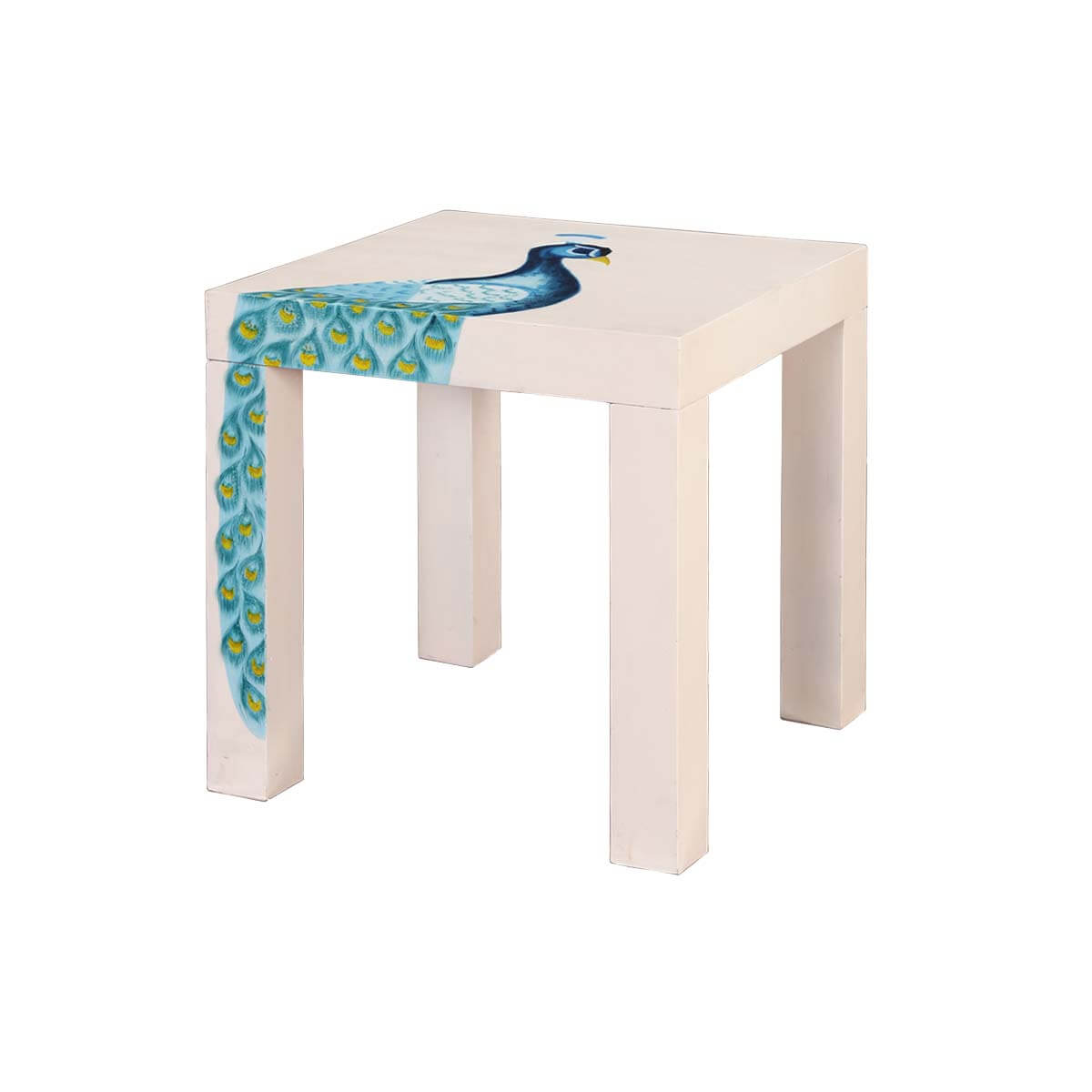 "Elegant Peacock Mango Wood Hand Painted 23"" Square Accent End Table"