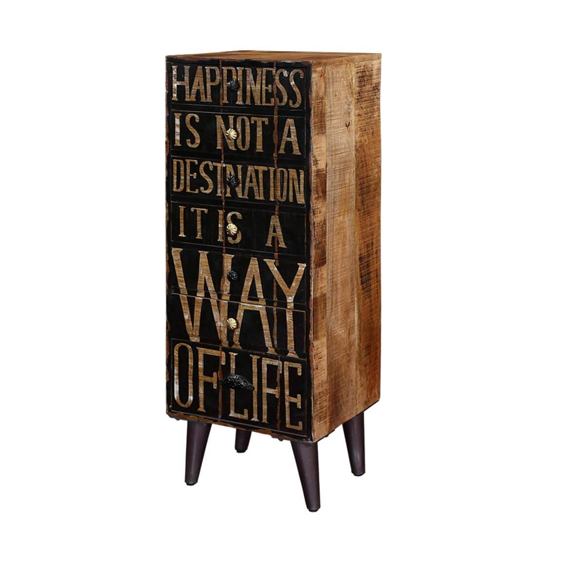 Happiness Quote Mango Wood & Iron Standing 7 Drawer Accent Tall Chest