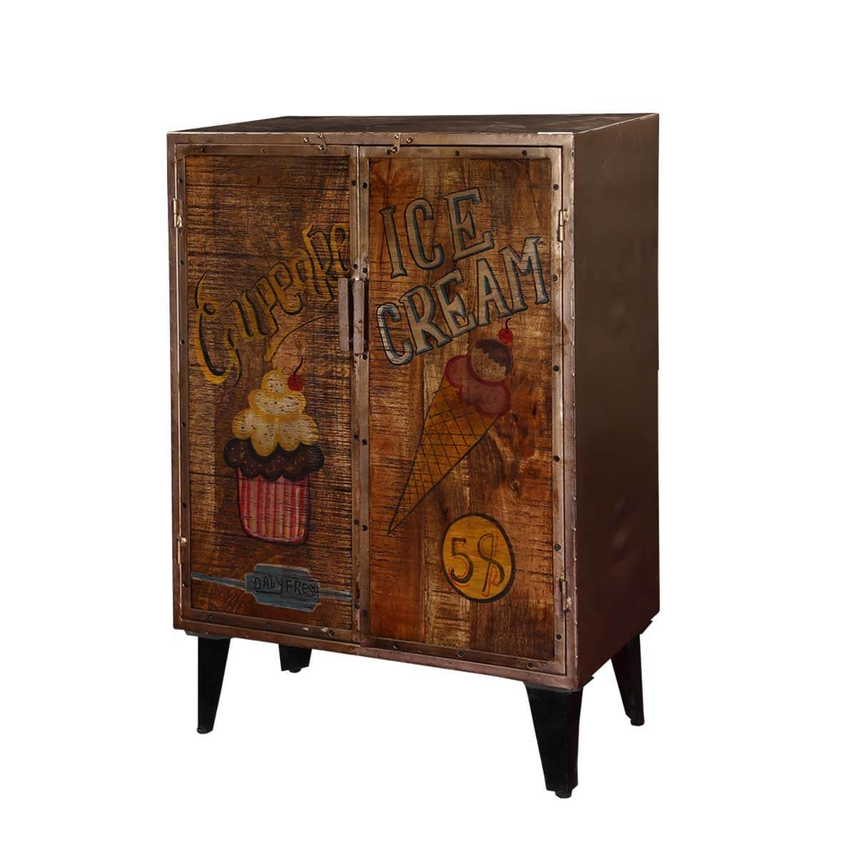 Yalaha Pop Art Sweet Treats Mango Wood Door Industrial Accent Cabinet