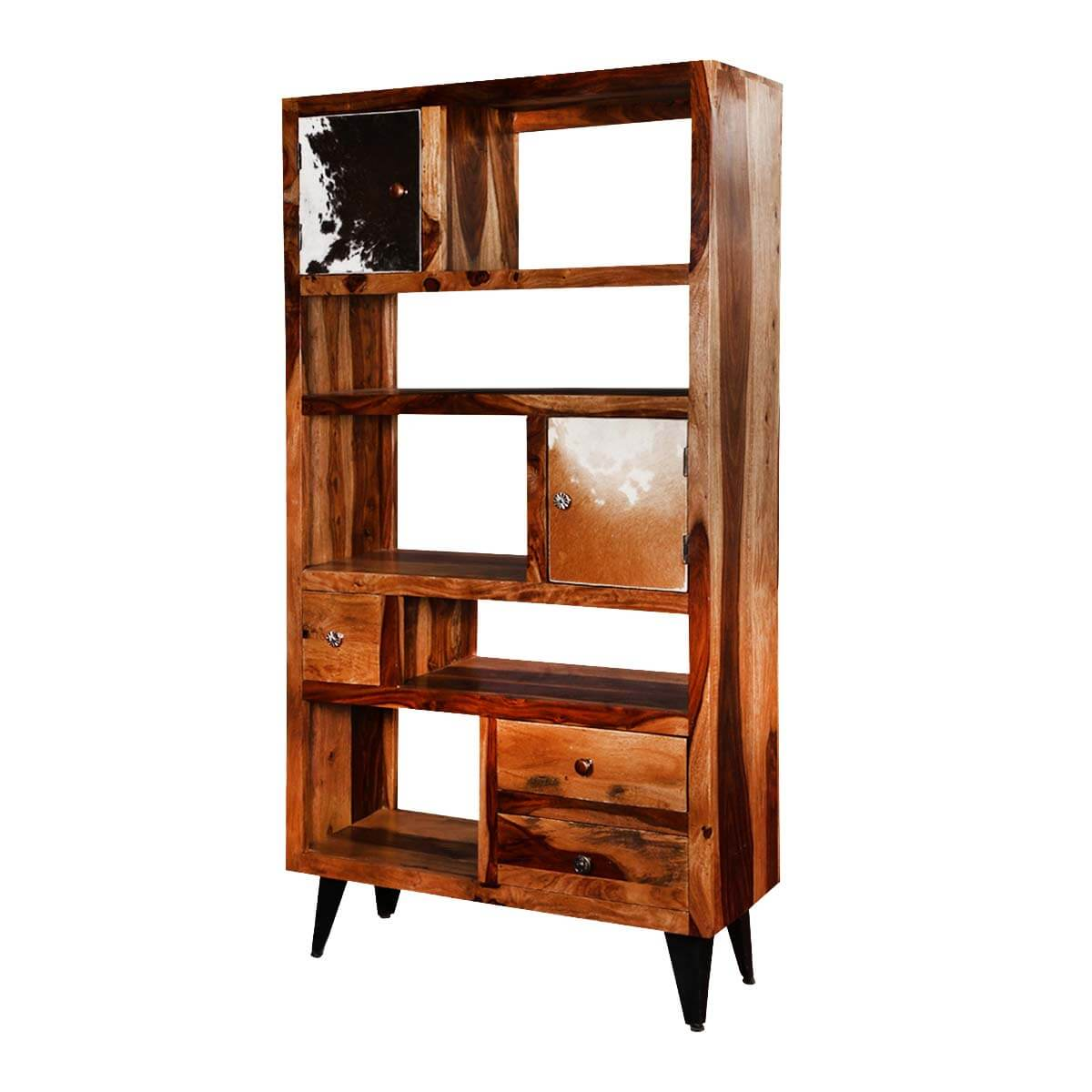 California 68 Asymmetrical Bookcase Storage Rack with Drawers