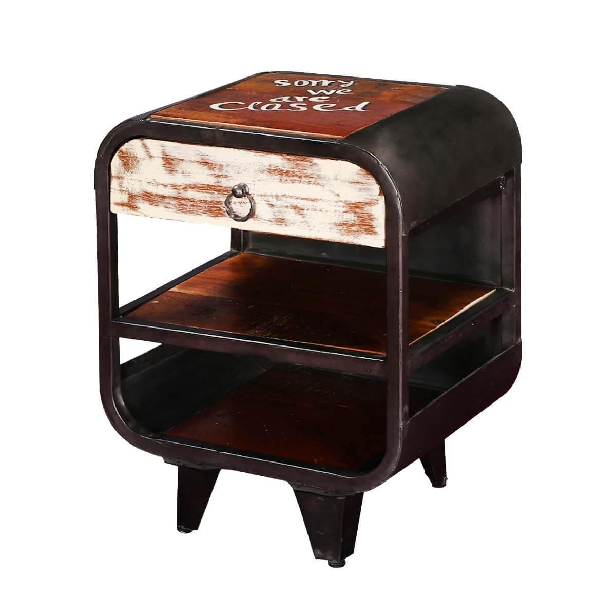 Philadelphia Retro 2 shelves Iron and Mango Wood Accent Nightstand