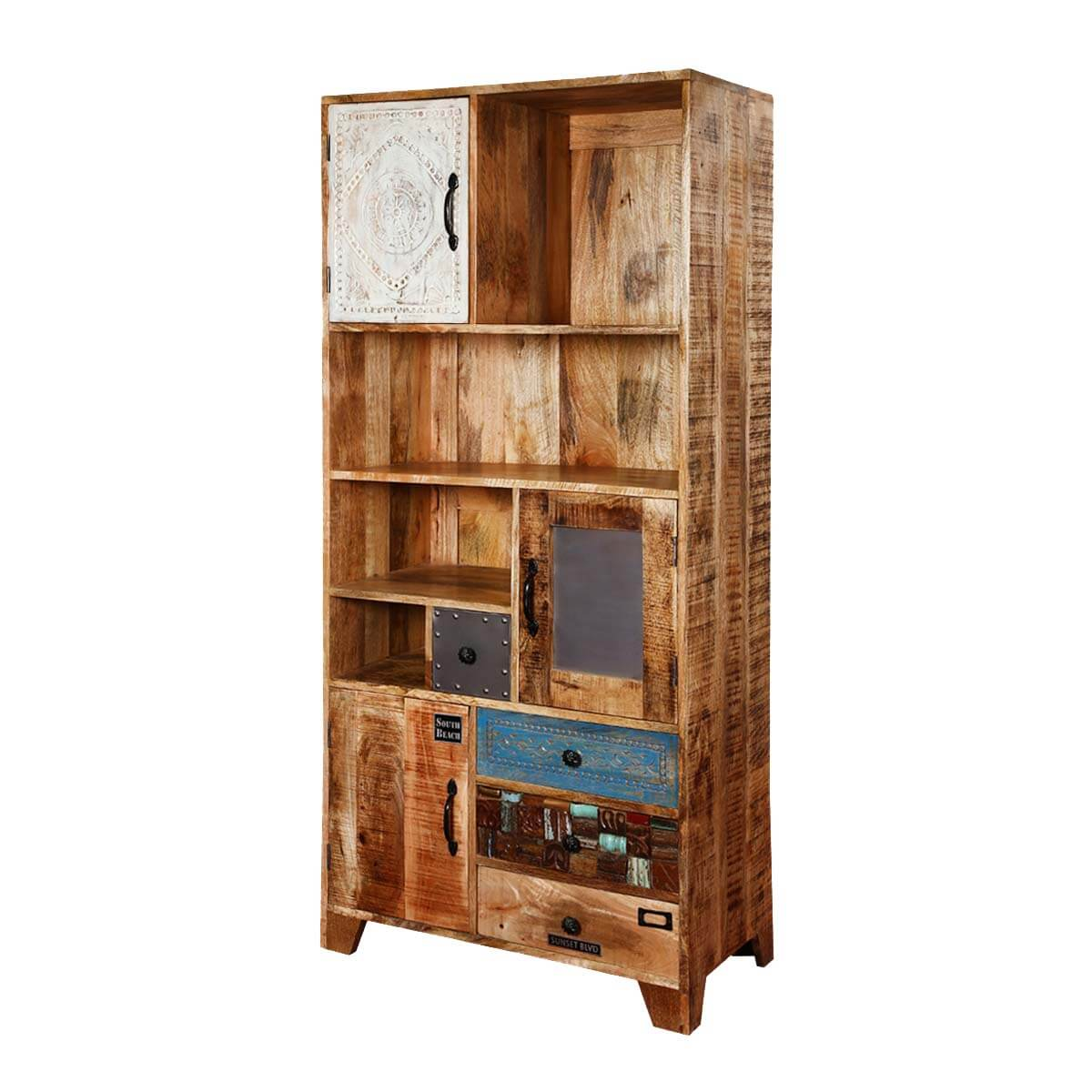 Arkansas Distinctive Iron and Mango Wood Rustic Storage Accent Cabinet