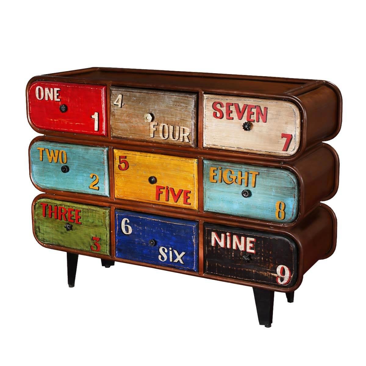 Numeral Iron 9 Drawer Standard Horizontal Industrial Dresser