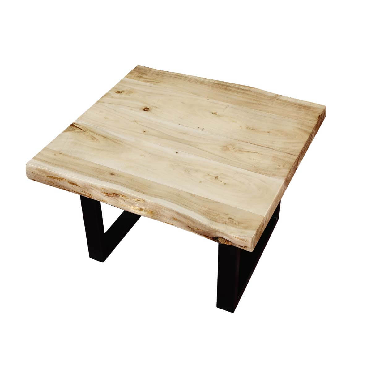 Black & White Natural Edge Acacia Wood & Iron End Table