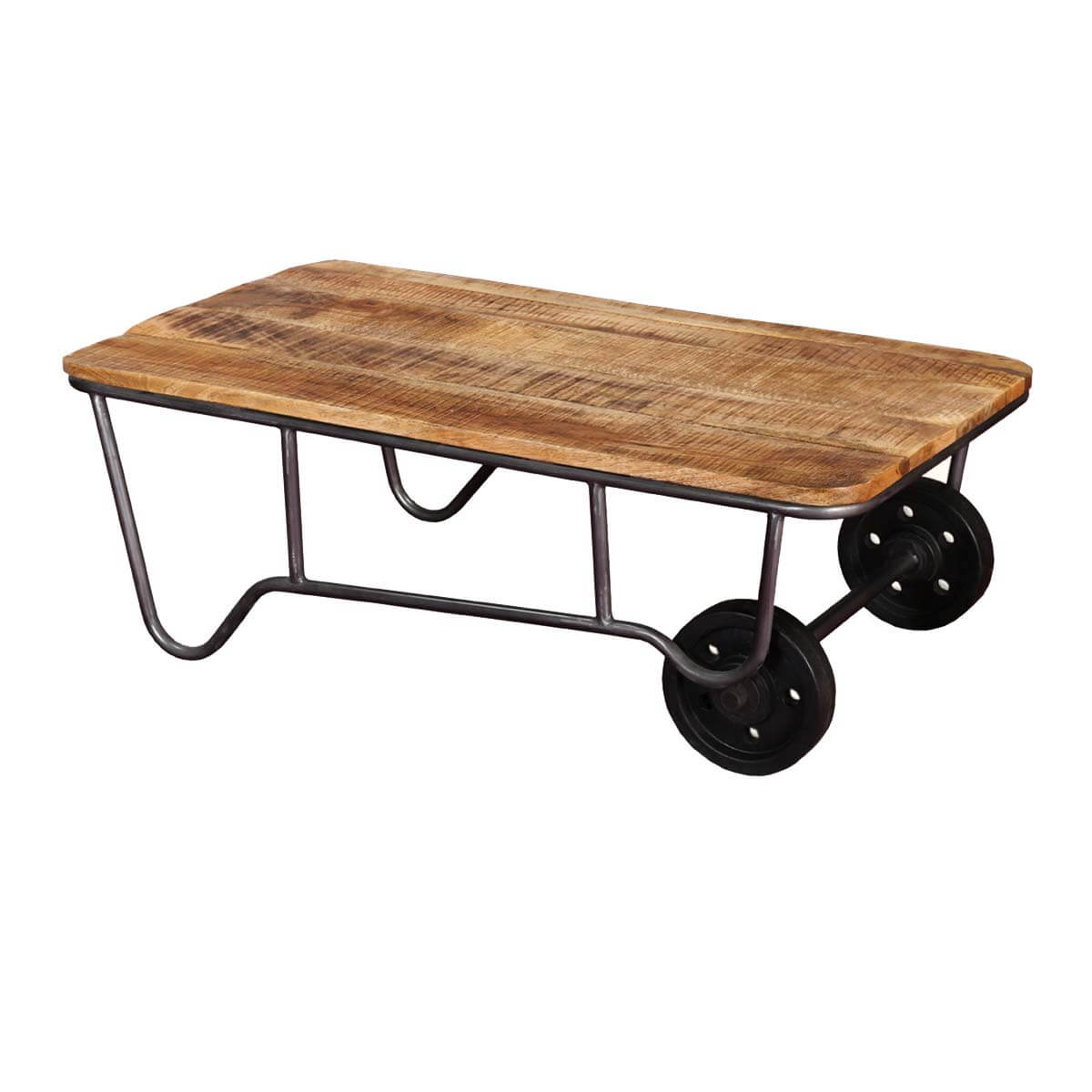 Industrial Rustic Mango Wood & Iron Rolling Coffee Table