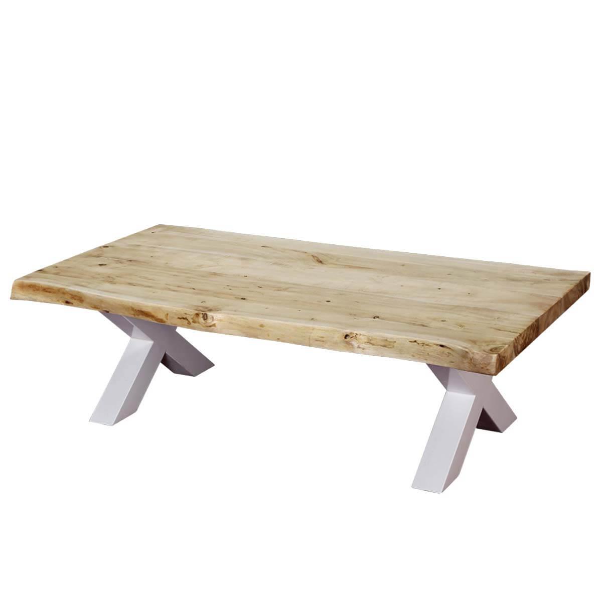 "Picnic Style Acacia Wood & Iron 51"" Live Edge Coffee Table"