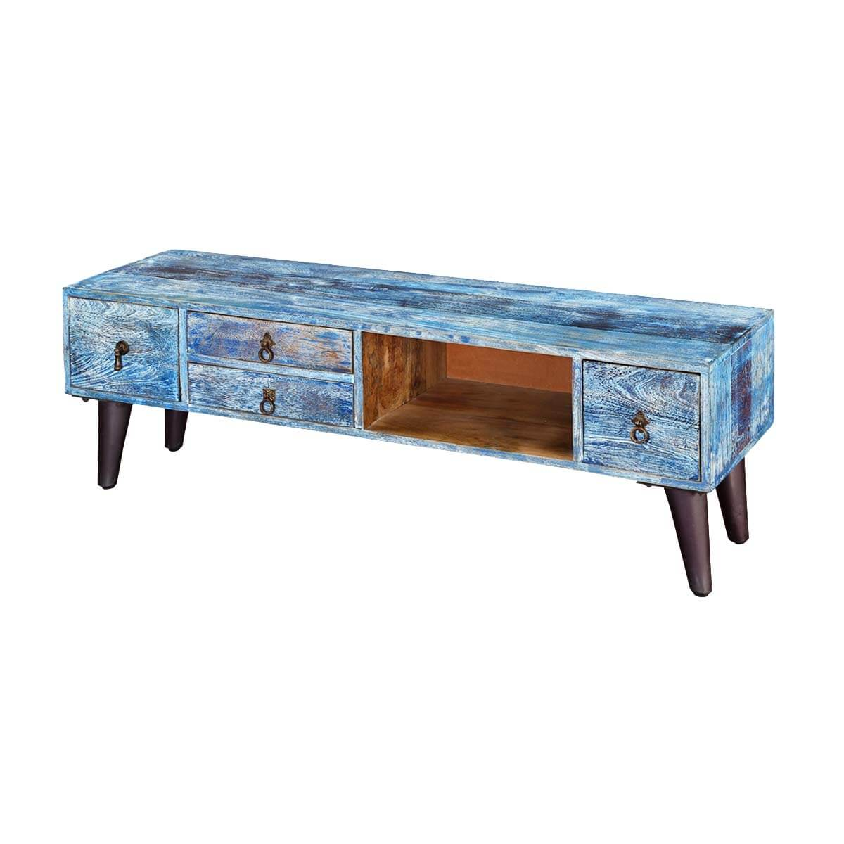 Turquoise Trail 51 Rustic 4-Drawer Open Storage Media Console Cabinet