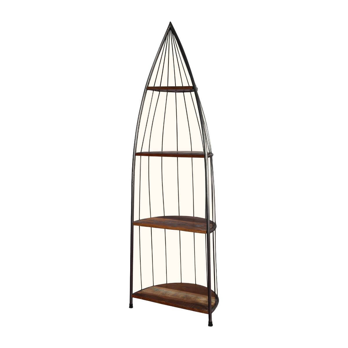 New York Chic 4 Shelf Iron and Wood 73 Tall Accent Display Rack