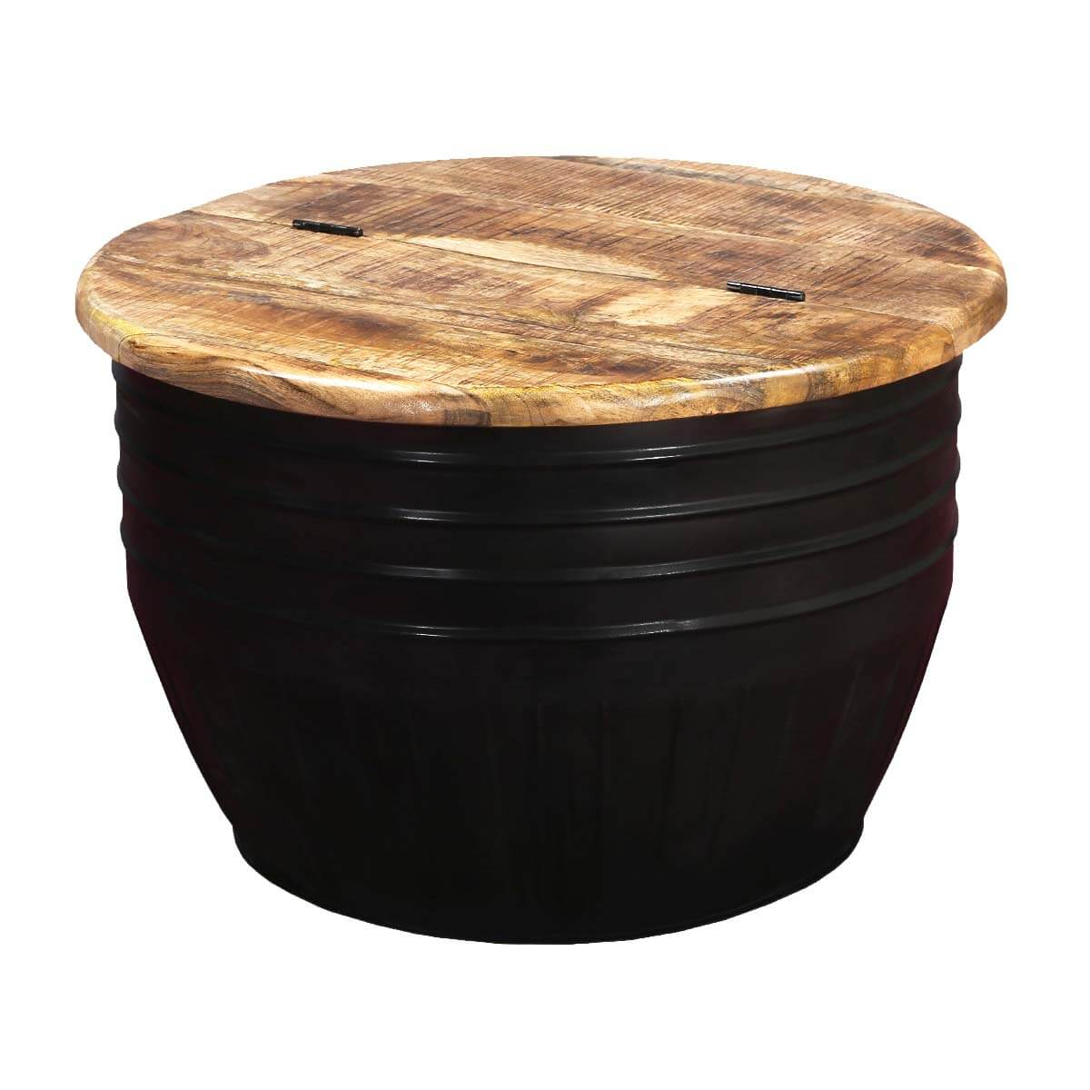 Nebraska Solid Wood and Iron Black Round Accent Coffee Table