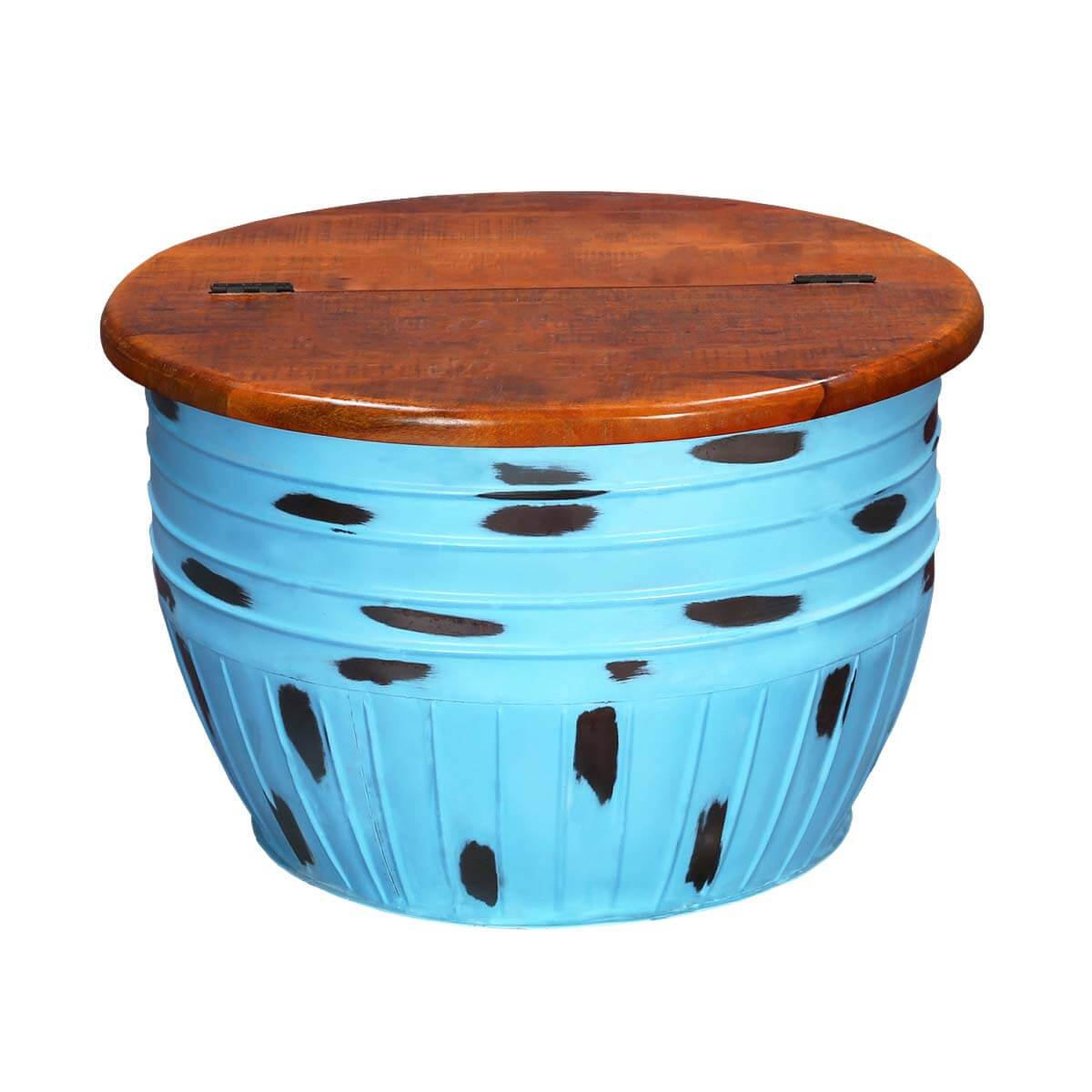 Kentucky Wood Top Iron Drum Blue Accent Coffee Table
