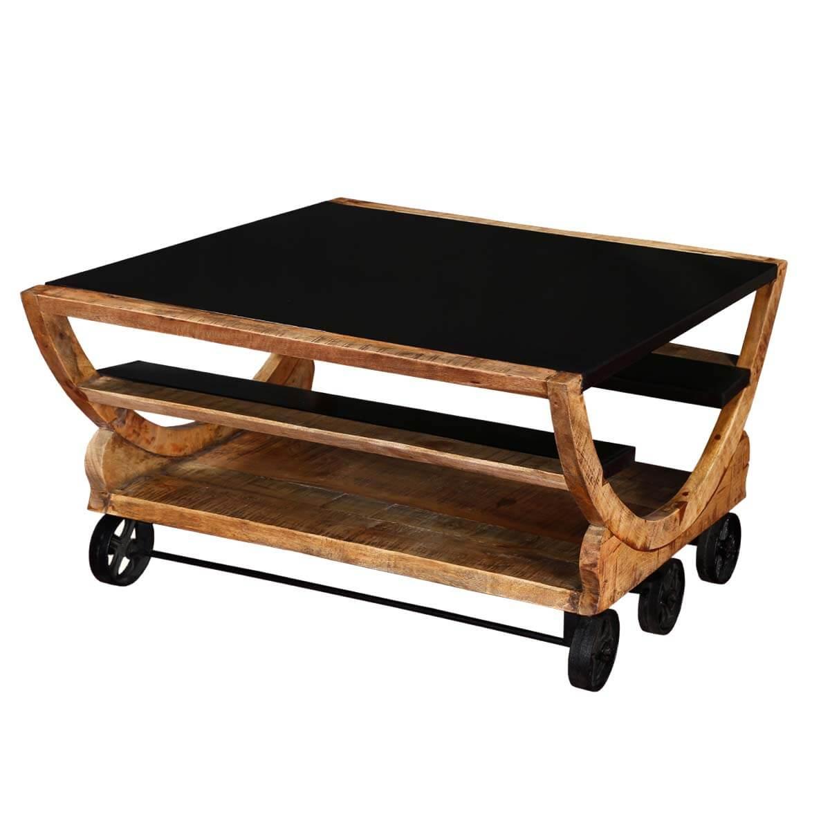 Savannah 3 shelf with 6 wheels Iron & Wood Modern Accent Coffee Table