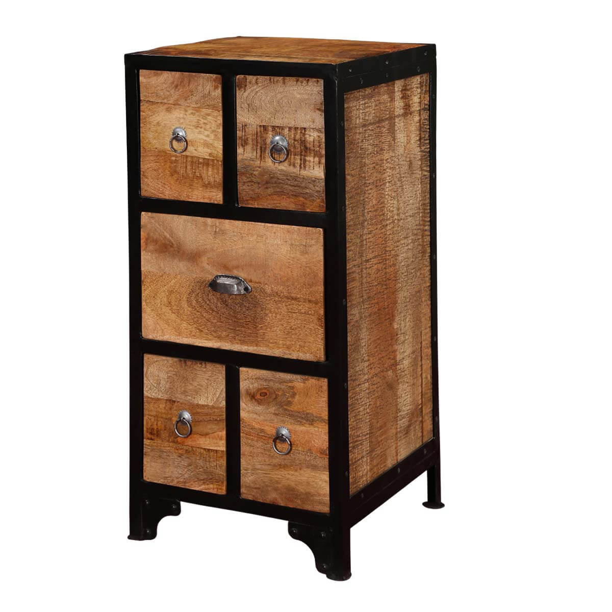 Rialto Industrial Rustic Mango Wood 5 Drawer Accent Chest