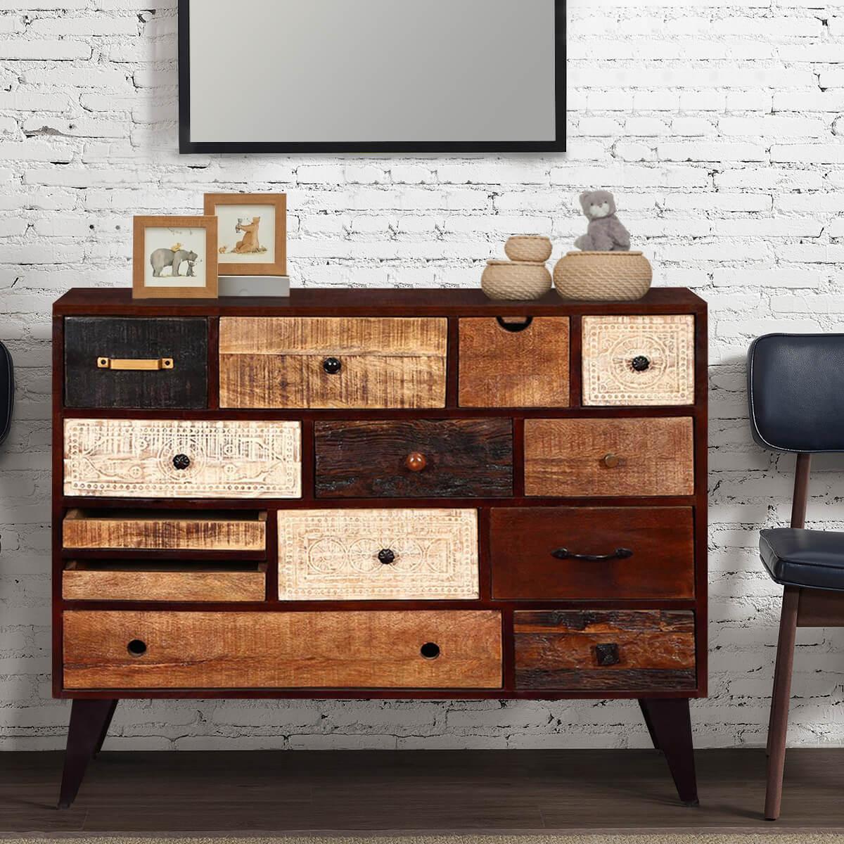 Appalachian Rustic Mango Wood 13 Drawer Accent Dresser Chest